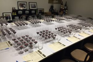Wines set up for tasting